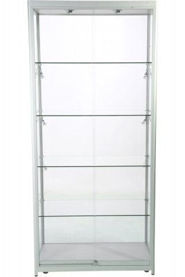 Glasmonter Showcase Tower Duo Silver med LED-belysning