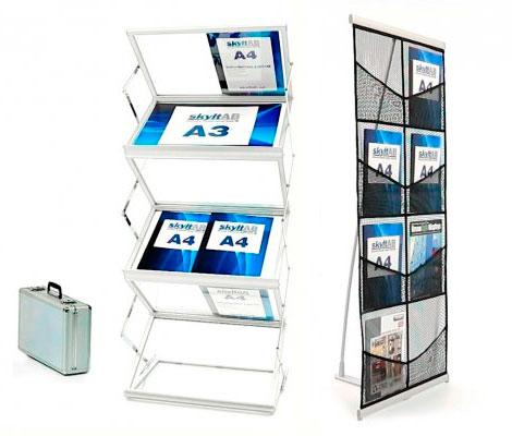 Portabla broschyrställ för golv